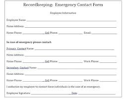employer emergency contact form template employee emergency contact form template awesome information