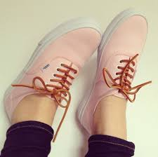 shoes pink vans clasic love brown vans salmon laces size 6 pale canvas shoes