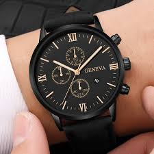 <b>Mens Watch Fashion</b> Geneva <b>Men</b> Date Case Alloy Synthetic ...