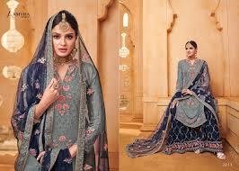 Heavy Designer Suits Wholesale Amyra Designer Queen Catalogue Heavy Georgette With Diamond