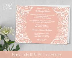 printable lace invitation template color changes wedding printable lace invitation template color changes wedding instant edit text rose white word pages by scriptandlily on