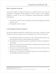 Completion Certificate Format Building Completion Certificate Format
