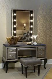mirrored vanity furniture. Urban Dressing Room Area With Bulb Light Vertical Style Mirrored Vanity Set, Grey Tufted Bench Furniture R