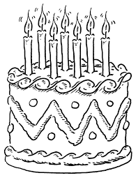 Birthday Cakes Coloring Pages Seven Candles Cakepinscom Coloring