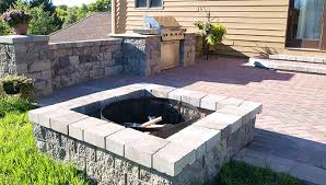 patio with square fire pit. Square Firepit, Firewood, Patio Wall, Paver Patio, Bbq Grill, Fire Pits With Pit E