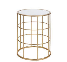 decorative side table round high metal