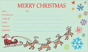 Printable Christmas Certificates Christmas Gift Certificate Templates Free Printable Xmas Gift with 46