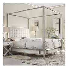 Amazon.com - Modern Square Polished Chrome Canopy Poster Queen Bed ...