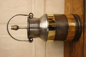 antique brass bound milk churn table lamp
