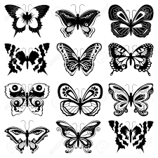 Set Of Twelve Black Butterfly Silhouettes On A White Background