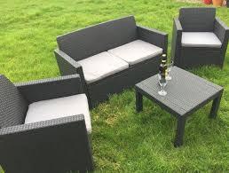 poly rattan patio garden furniture coffee table sofa 2 armchairs slate grey