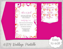 Pocket Wedding Invitation Template Diy Pocketfold Wedding Invitation