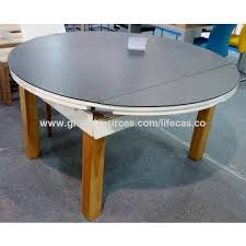 china extension round glass top with marble painting solid wooden legs dining table