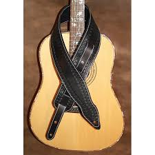 guitar strap 3 wide adjustable length memphis style custom leather guitar strap hand tooled black can be personalised