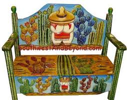 mexican painted furnitureHand Painted Mexican Benches