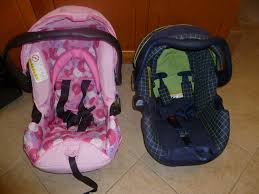 front comparrison of our old infant car seat and the onboard 35 infant carrier