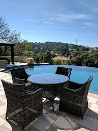 ratan dining table 5 piece round outdoor wicker rattan dining table set with cushions rattan