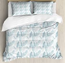 teal and white duvet cover set pastel colored grunge looking feathers flying bohemian ethnic decorative bedding set with pillow shams teal dark blue