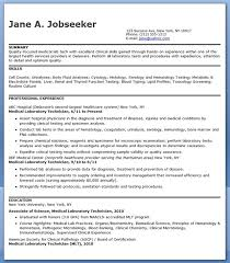 Gallery Of Medical Lab Technician Resume Sample Medical Resume