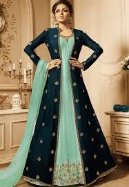 Punjabi Suit With Long Jacket Design Drashti Dhami Sky Blue Georgette Long Jacket Anarkali Suit