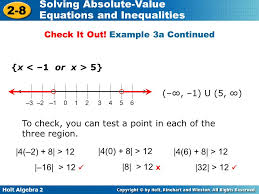holt algebra 2 2 8 solving absolute value equations and inequalities x 5