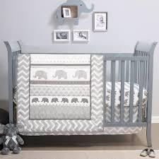 elephant walk 4 piece chevron uni grey white baby crib bedding by belle