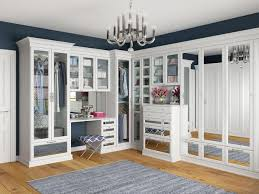 Closet ideas Baby Glamorous White Walk In Closet With Mirror Insert Door And Drawer Styles By California Closets California Closets Walk In Closets Designs Ideas By California Closets