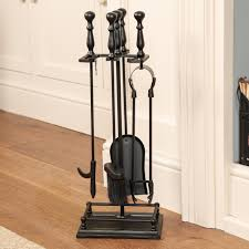 cast iron fireplace accessories set