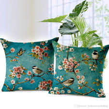 peach blossom cushion covers flower birds throw pillows covers spring fl decorative pillows cases bedroom sofa decoration patio cushions for large