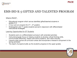 ems isd k 5 gifted and talented program what is pace