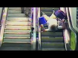 people on escalators. network rail releases cautionary cctv fotage of people falling down escalators - youtube on d