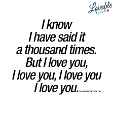 I Love U Quotes Inspiration I Know I Have Said It A Thousand Times But I Love You Love