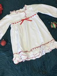 Jens Original Embroidery Designs New Christmas Girls Princess White Red Ruffle Cotton Gown