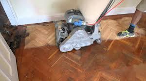 parquet floor sanding restoration with dust free frank cobra sander you