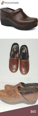 Dansko Brown Floral Tooled Leather Clogs Size 40 Dansko