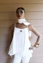 Devita Designs Devita Designs Handmade White Tank Tunic Top Set Organic Cotton