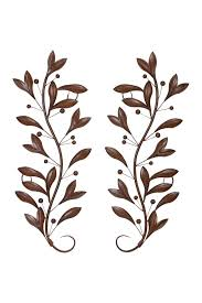 image of uma brown metal wall decor set of 2