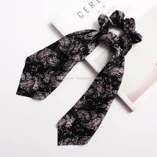 Designer Scrunchies 2019 Designer Hair Scrunchies Bow Hair Scrunchie Pony Tail Ponytail Holder Hairband Women Lady Girls Headwear Hair Ties Accessories Bands From