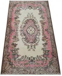 4x6 7 ft 119x203 cm cream rose mustard brown vintage handmade rug