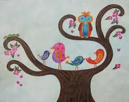 custom made owl birds personalized custom nursery art custom kids wall art painting