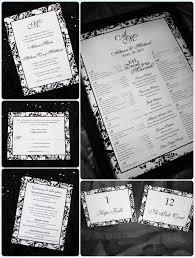 Black Damask Border With Monogram Wedding Invitations