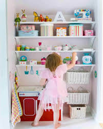furniture simple white wooden wall mounted shelf for toys kids with girl toy storage room