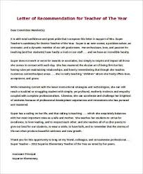 Letter of Re mendation for Teacher of The Year