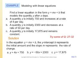 solution example modeling with linear equations week ppt
