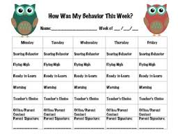 3rd Grade Behavior Chart Owl Themed Behavior Chart