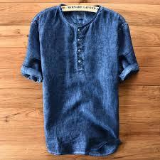 Mens Casual Cotton Linen Short Sleeve Summer Top M 3xl 4