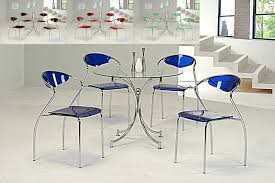 Image Base Glass Dining Table And Chairs Round Clear Glass Dining Table And Blue Chairs Homegenies