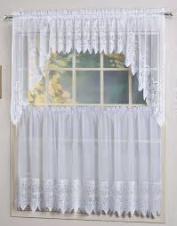 valerie curtains are a sheer macramé combination style the tiers are sheers embellished with a scalloped macramé bottom the matching swags valances