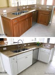 painting dark kitchen cabinets white before and after