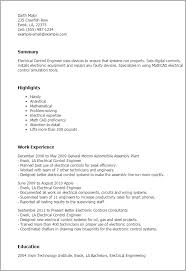Resume Templates: Electrical Control Engineer